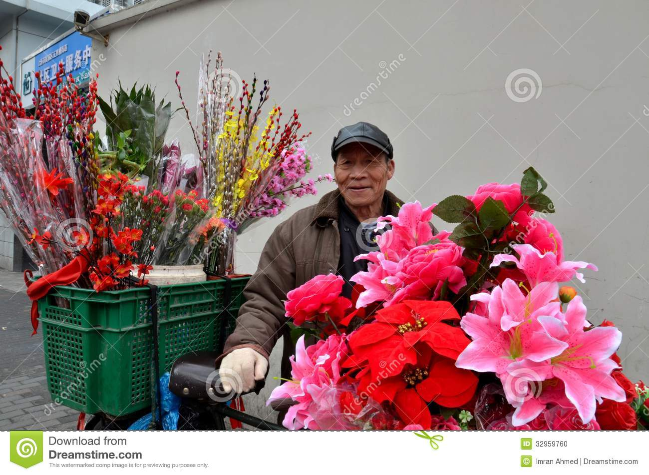 Chinese Bicycle Flower Vendor On Street Shanghai China Editorial