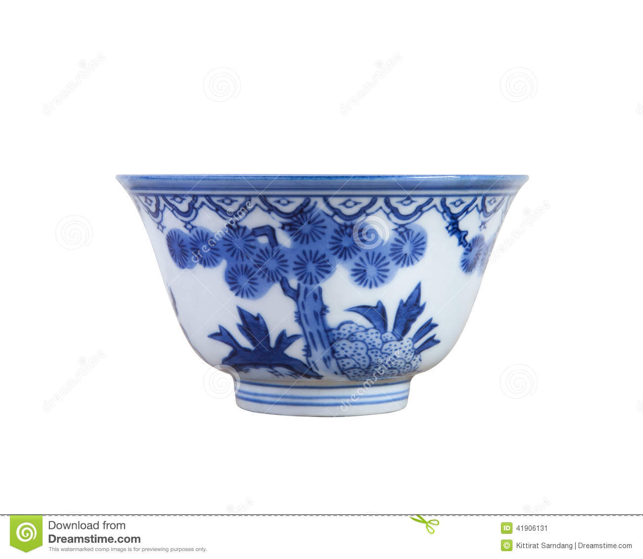 Blue and white pottery - Chinese Blue And White Pottery Tea Cup