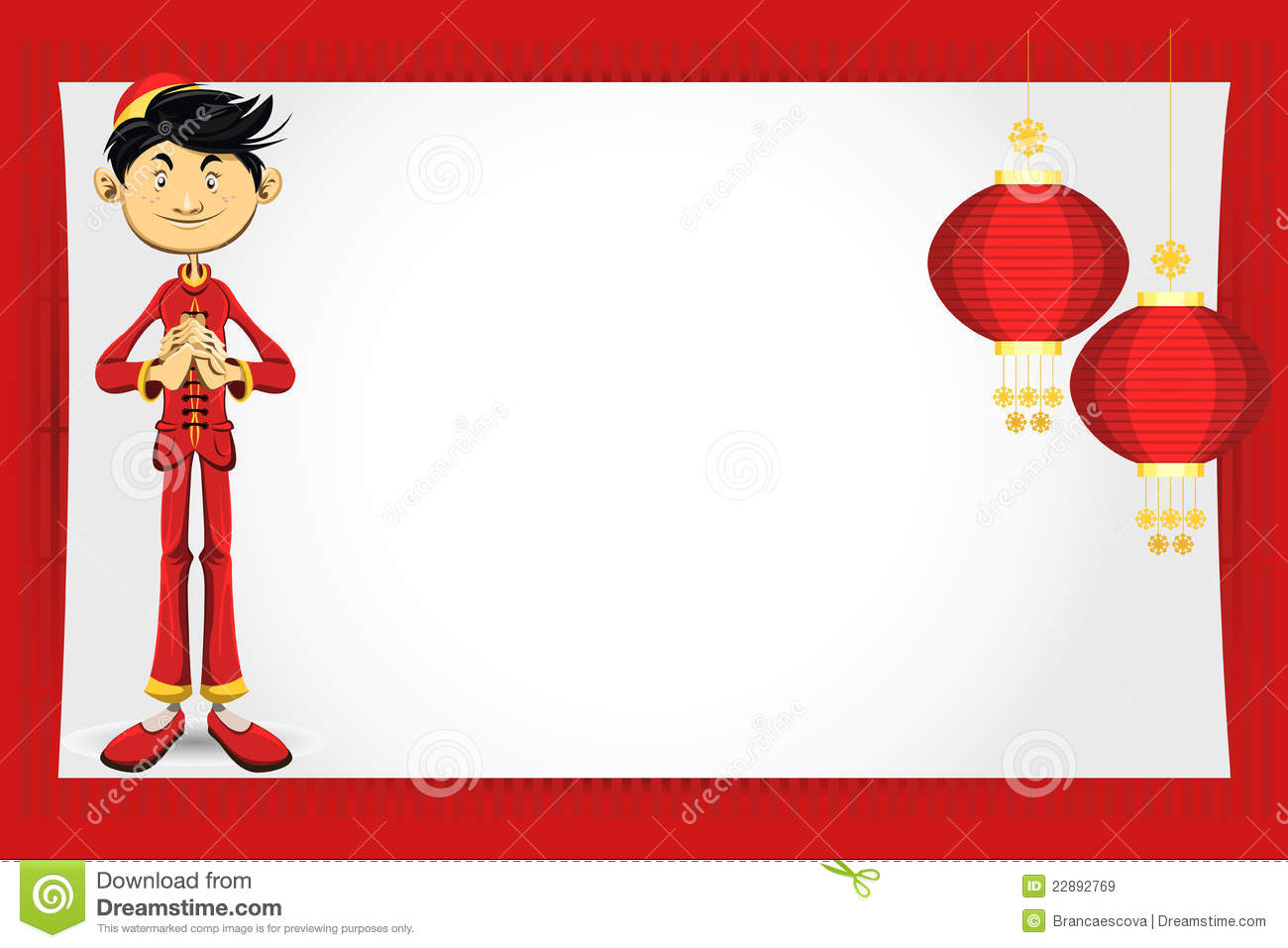 Chinese Boy New Year Greeting Card Stock Vector - Illustration of ...