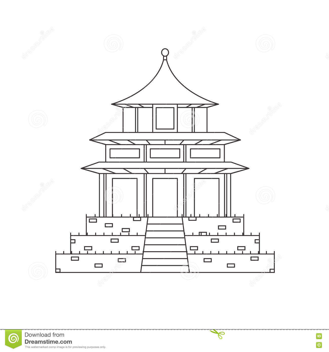 Chinese Buddhist Temple Monastery Building Vector Stock Vector