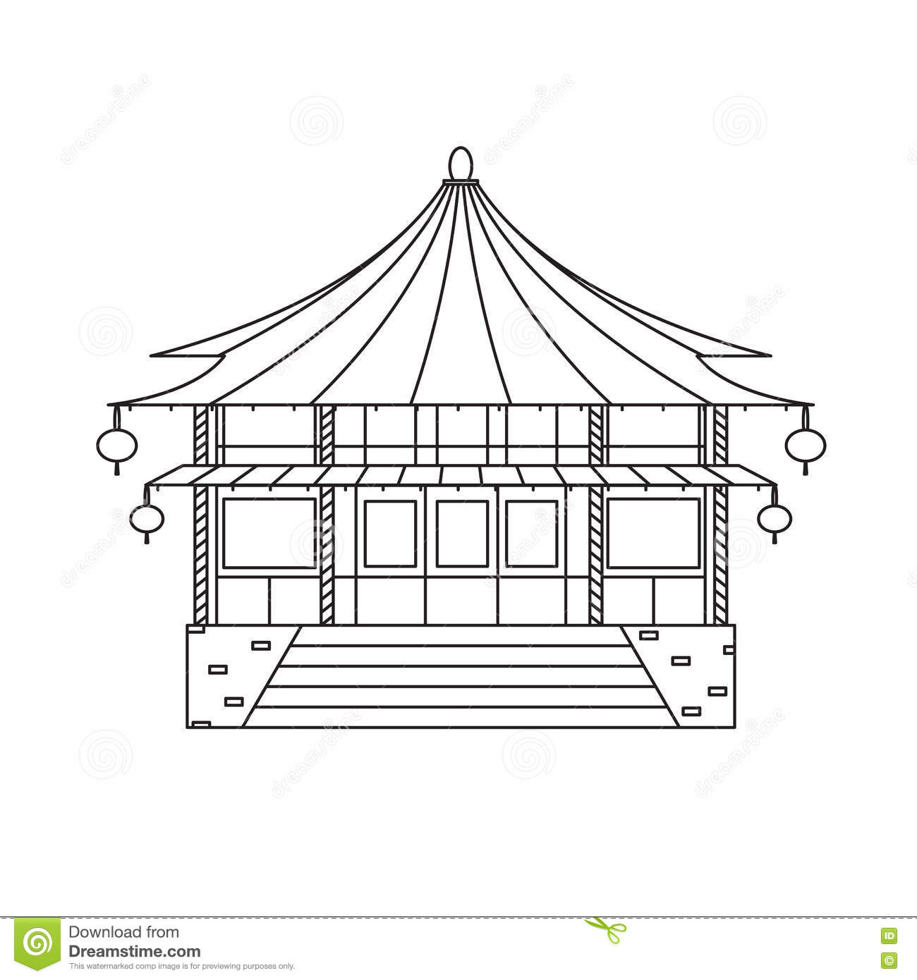 Chinese buddhist temple monastery building vector stock for Architecture orientale