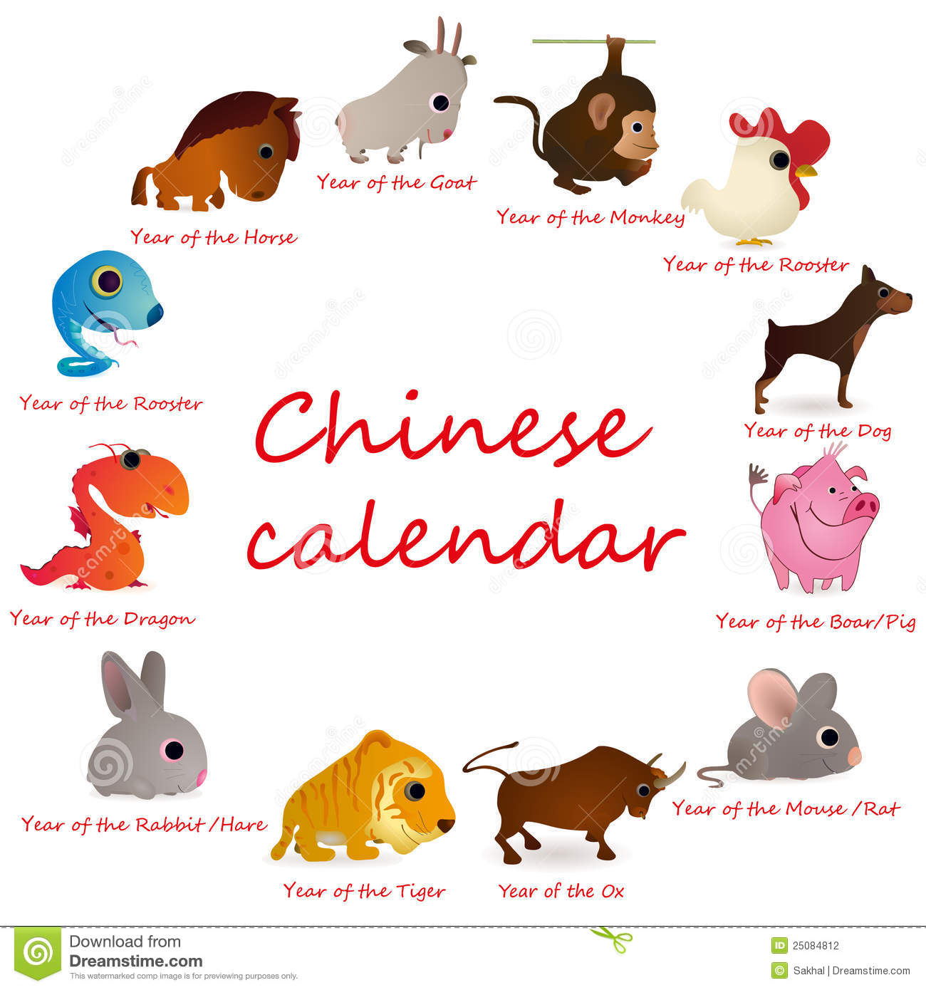 Chinese Calendar With 12 Animals Stock Photography - Image: 25084812