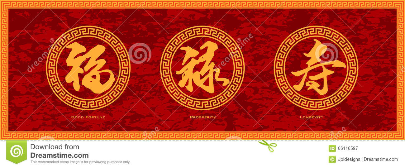 Chinese Calligraphy Good Fortune Prosperity And Longevity Red