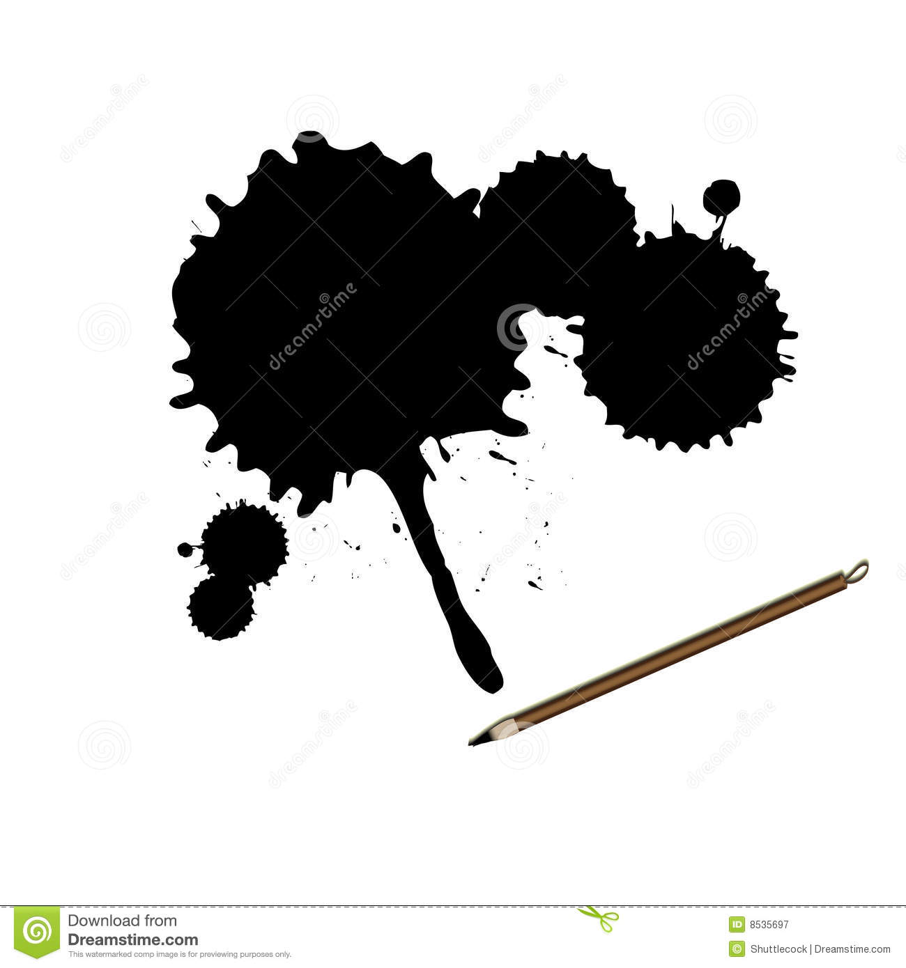 Chinese calligraphy ink brush with splatter royalty free