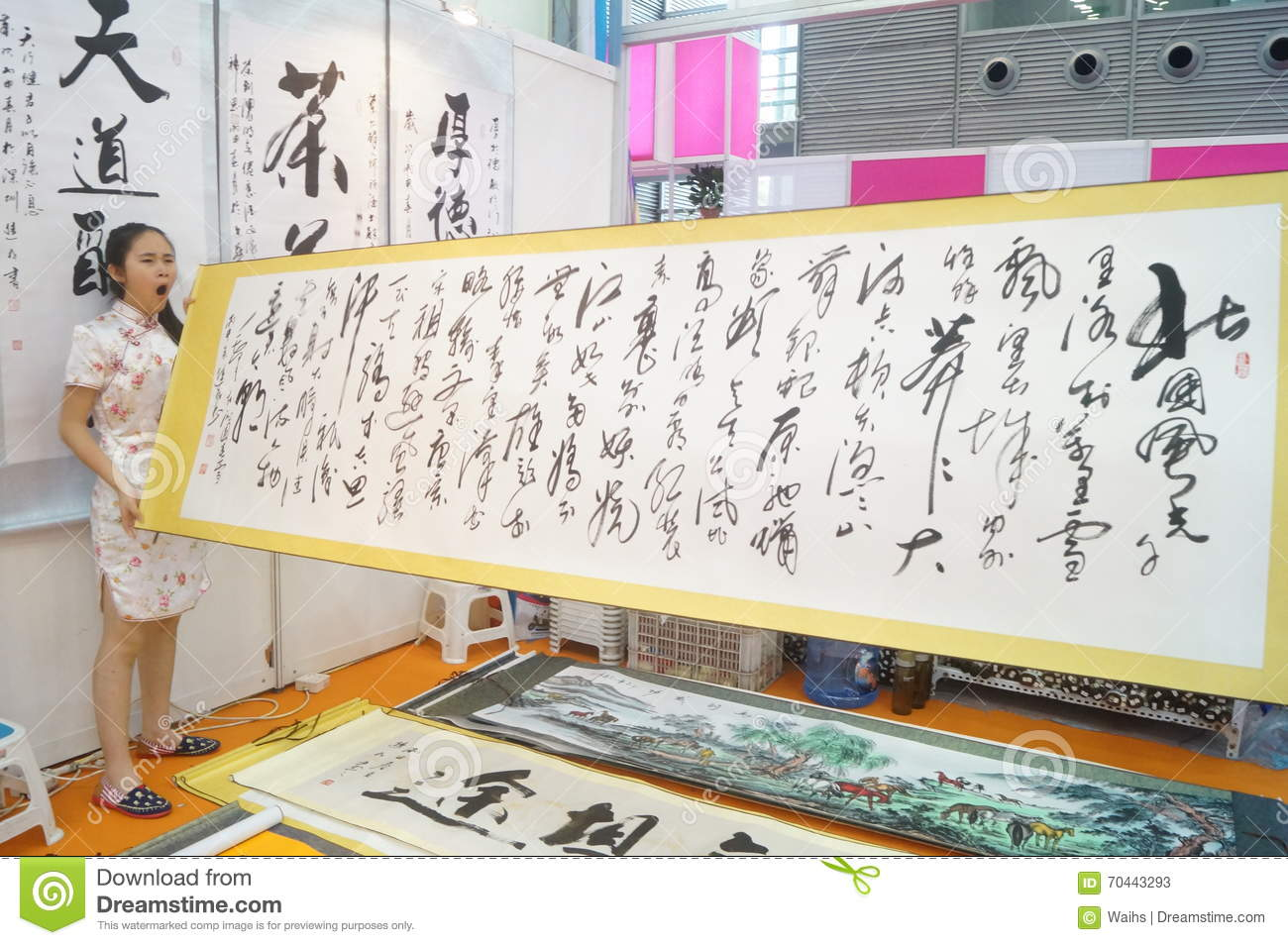 Chinese Calligraphy Works For Sale Editorial Stock Photo