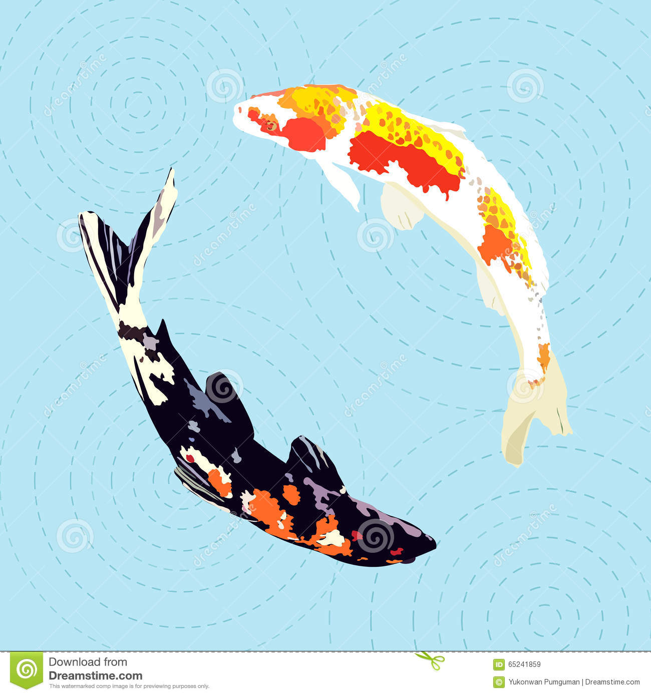 Chinese carp japanese koi fish vector illustration stock for Koi fish vector