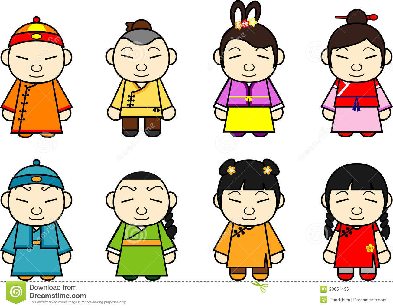 Chinese Cartoon Character Set Royalty Free Stock Photo - Image ...