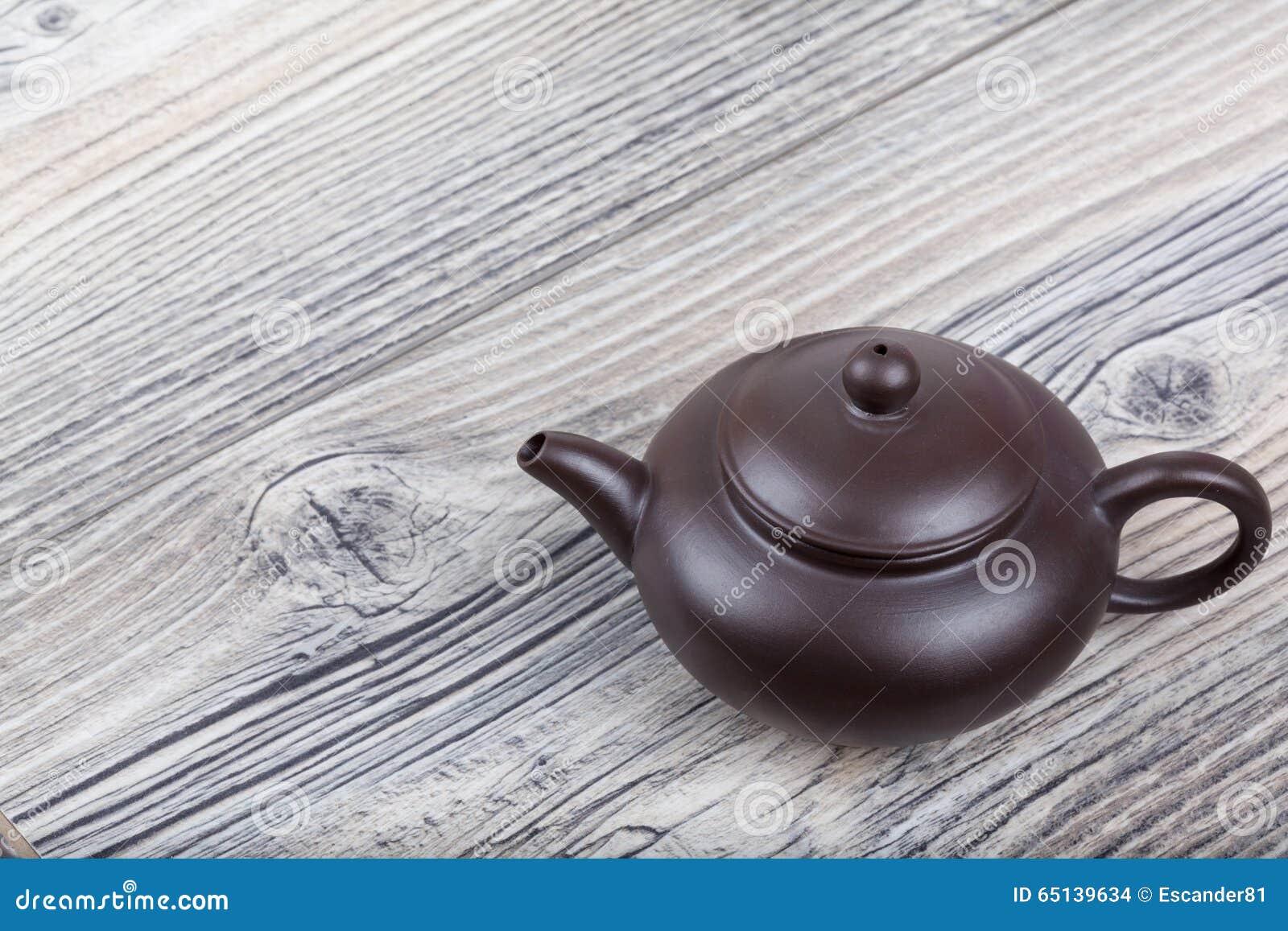 Chinese ceramic tea set on table