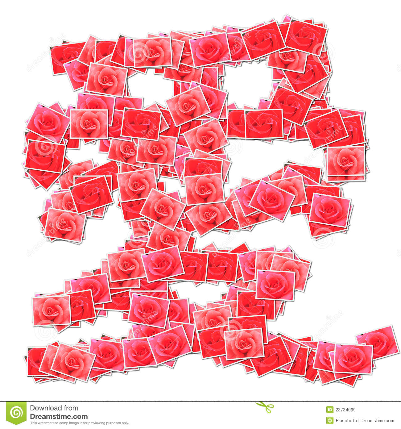 Chinese Character Love Made From Rose Photo Stock Illustration