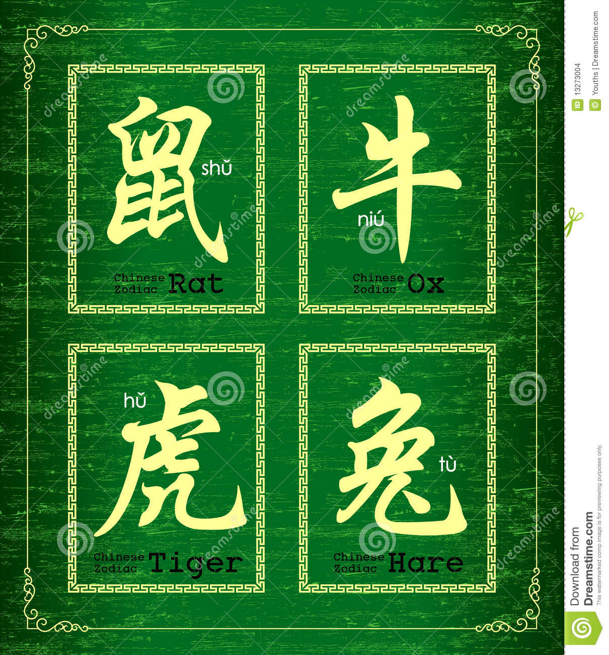 Vector Chinese character symbol about Chinese zodiac