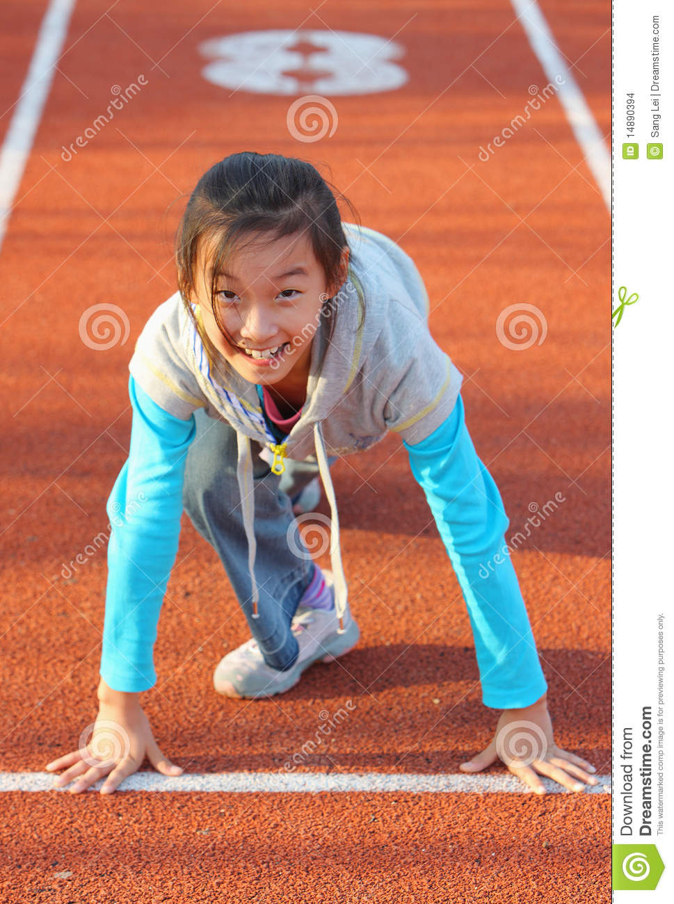 Chinese child prepares to start running