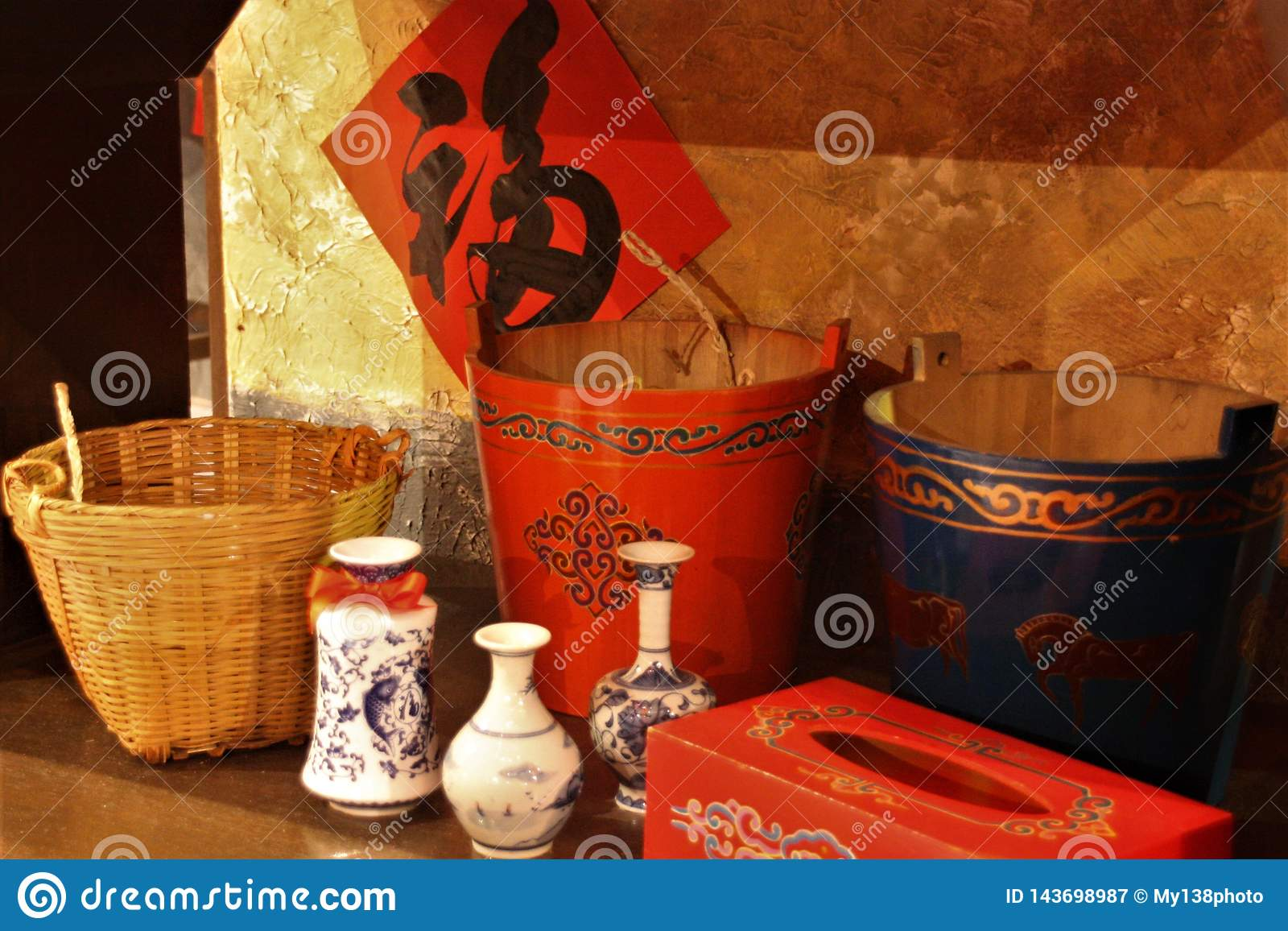 Chinese classic utensils baskets and pail