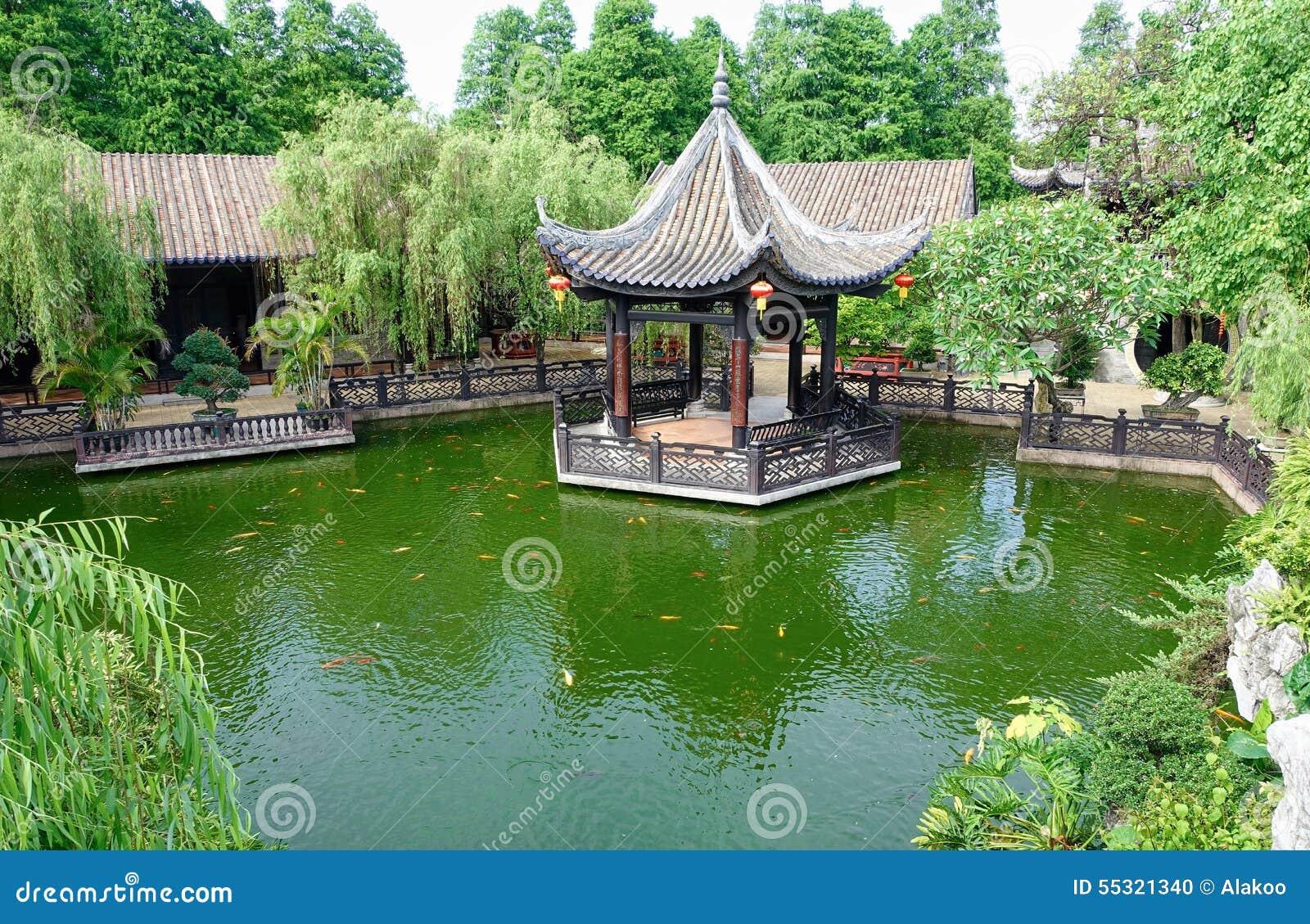 Landscaping gazebo chinese garden stock photo image of for Asian pond design