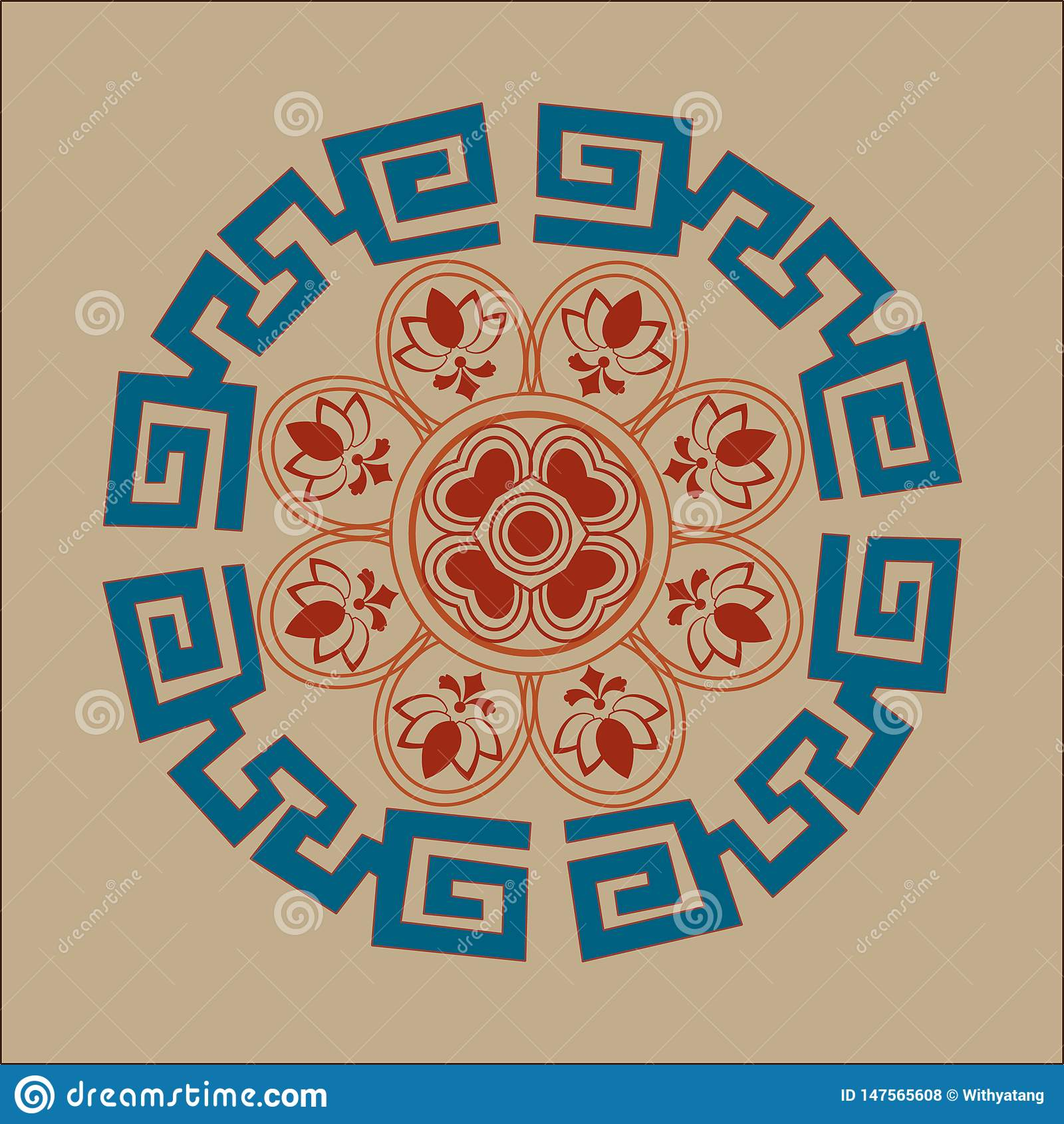 Chinese classical totem vector illustration design