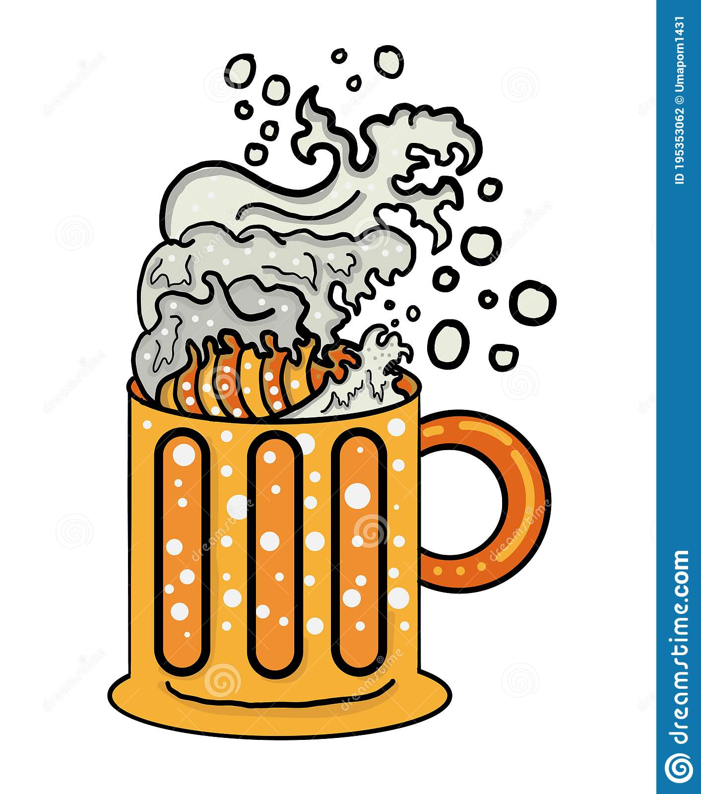 Traditional Wave On Top Beer Glass Wave Foam On Beer Stock Vector Illustration Of Cool Cartoon 195353062