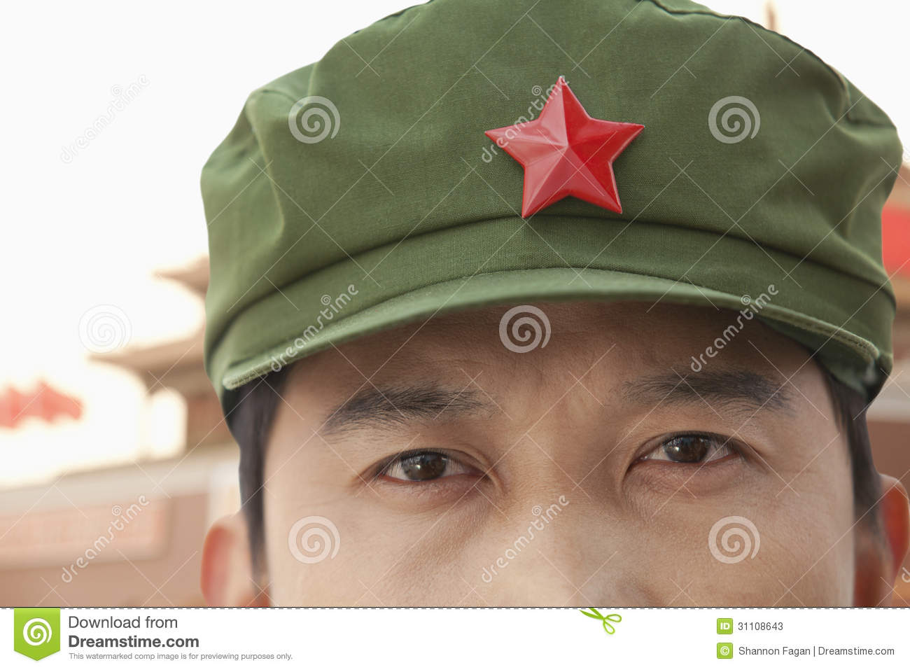 7f2099fc6 Chinese Communist Solider Wearing Hat With A Star, Close-Up Stock ...