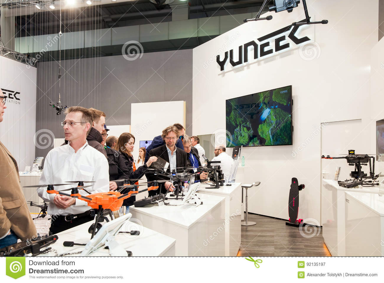 Chinese company Yuneec with drones technoloy on exhibition fair Cebit 2017 in Hannover Messe, Germany