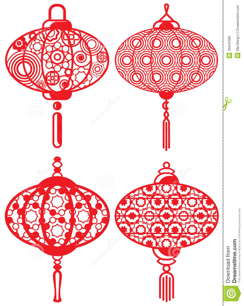 chinese contemporary design lanterns set stock vector