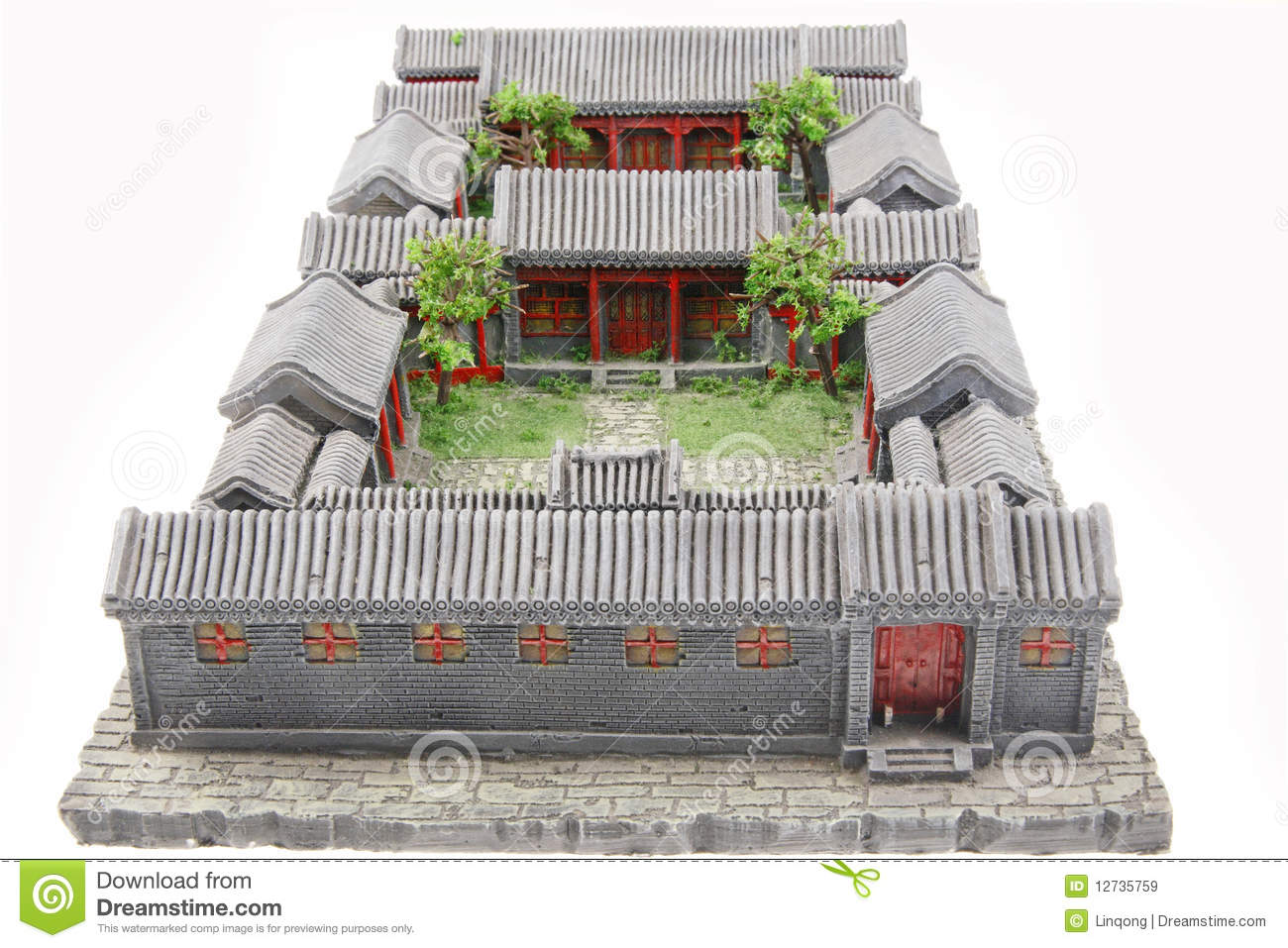 Chinese courtyard model stock image image of front for Chinese house plans