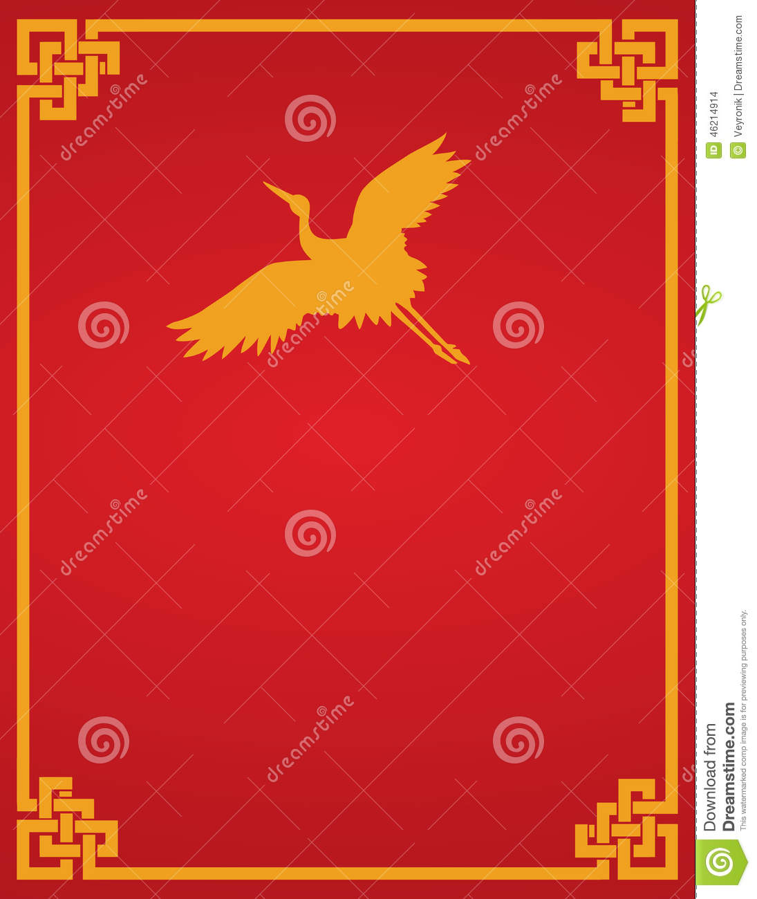 Old Chinese Book Cover : Chinese crane red background stock vector image
