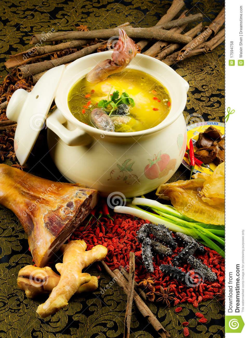 Chinese Cuisine, Chicken Soup In The Pot Royalty Free Stock Photos ...