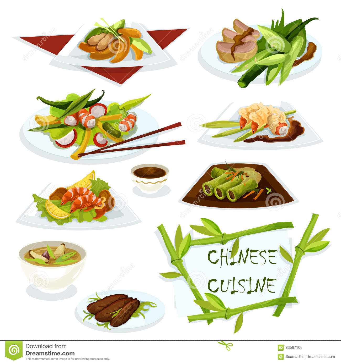 Chinese cuisine dishes for restaurant menu design stock for Artistic cuisine menu