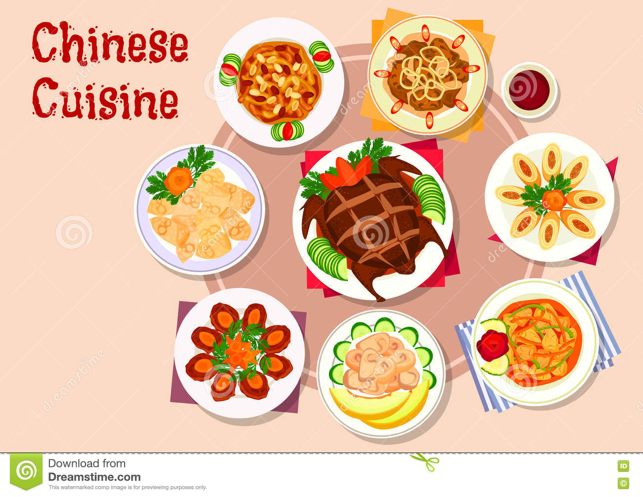 Chinese cuisine meat dishes icon for menu design stock for Asia cuisine menu