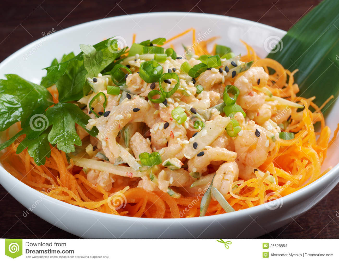 Chinese cuisine .salad of shrimp, mixed greens.