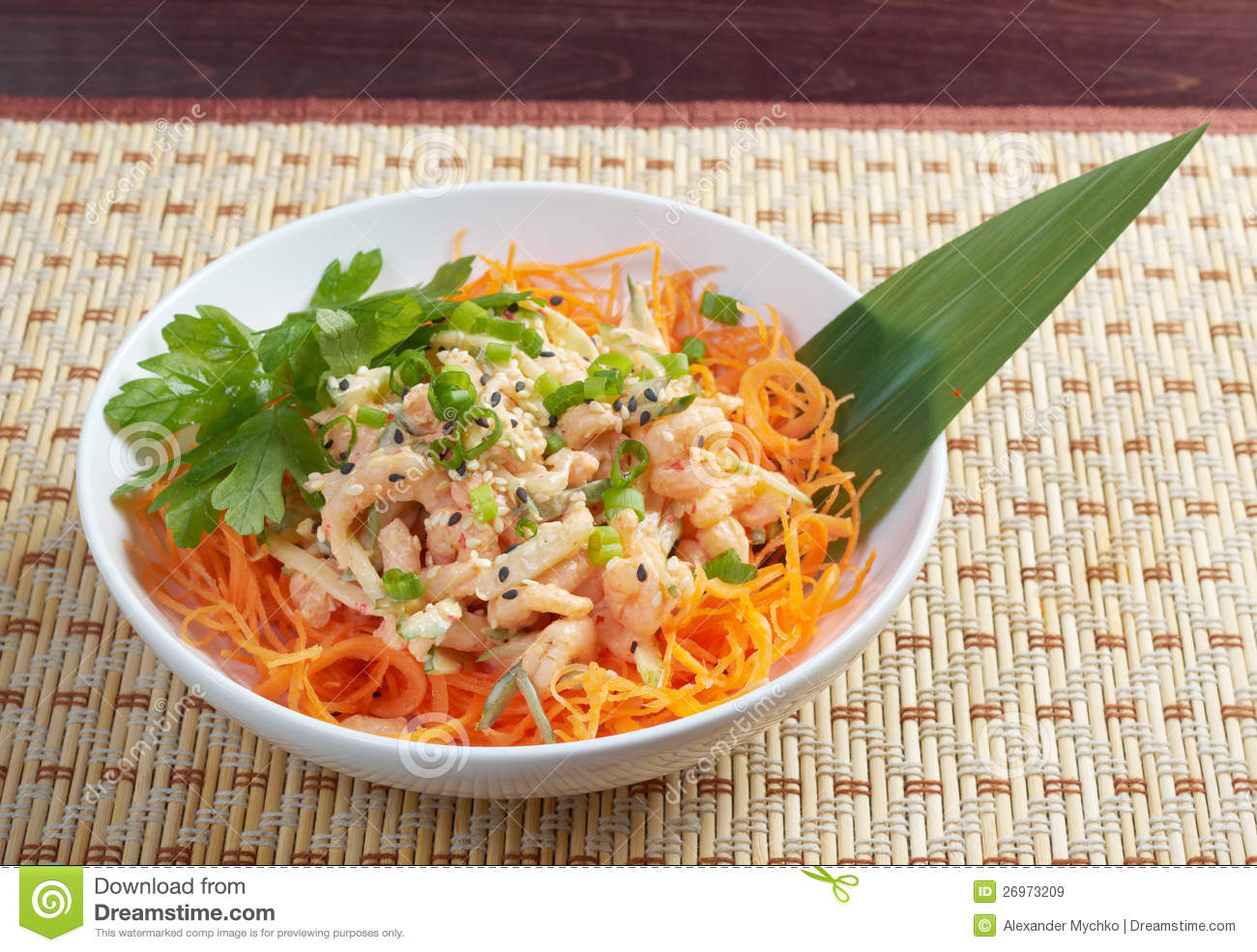 Royalty Free Stock Images: Chinese cuisine .salad of shrimp