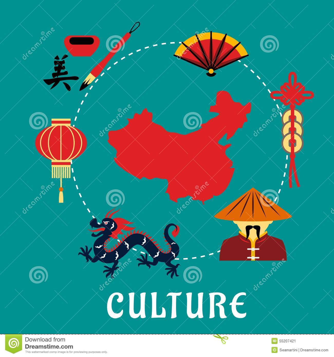 Chinese culture concept with dragon, mandarin or chinaman, lantern ...