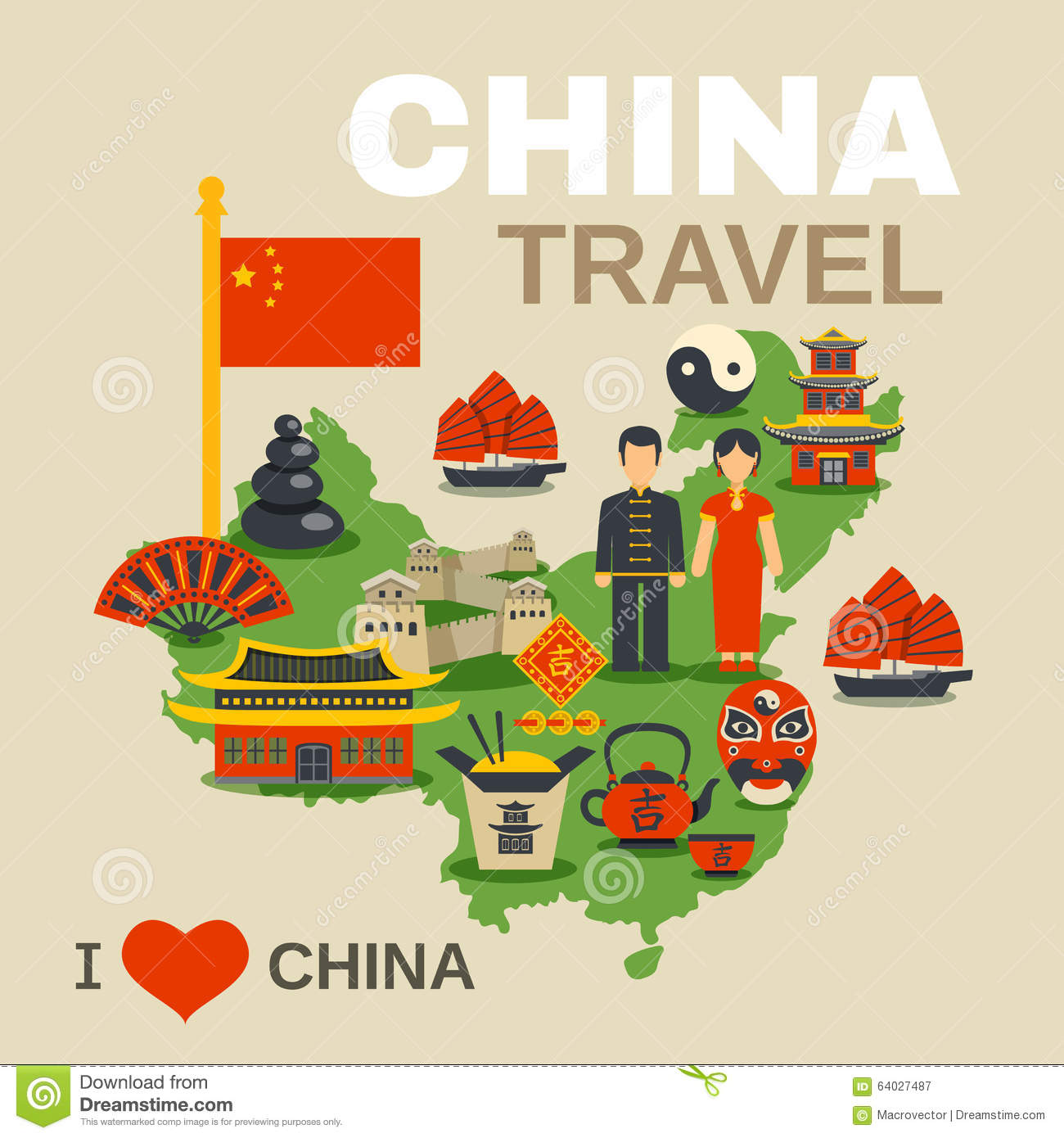 Chinese Culture Traditions Travel Agency Poster Stock Vector