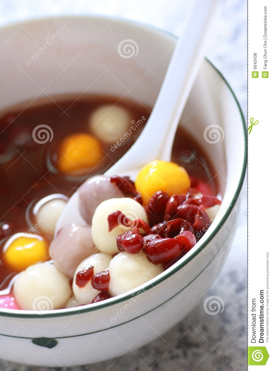 Chinese Dessert, Red Bean Soup With Rice Ball Royalty Free Stock ...