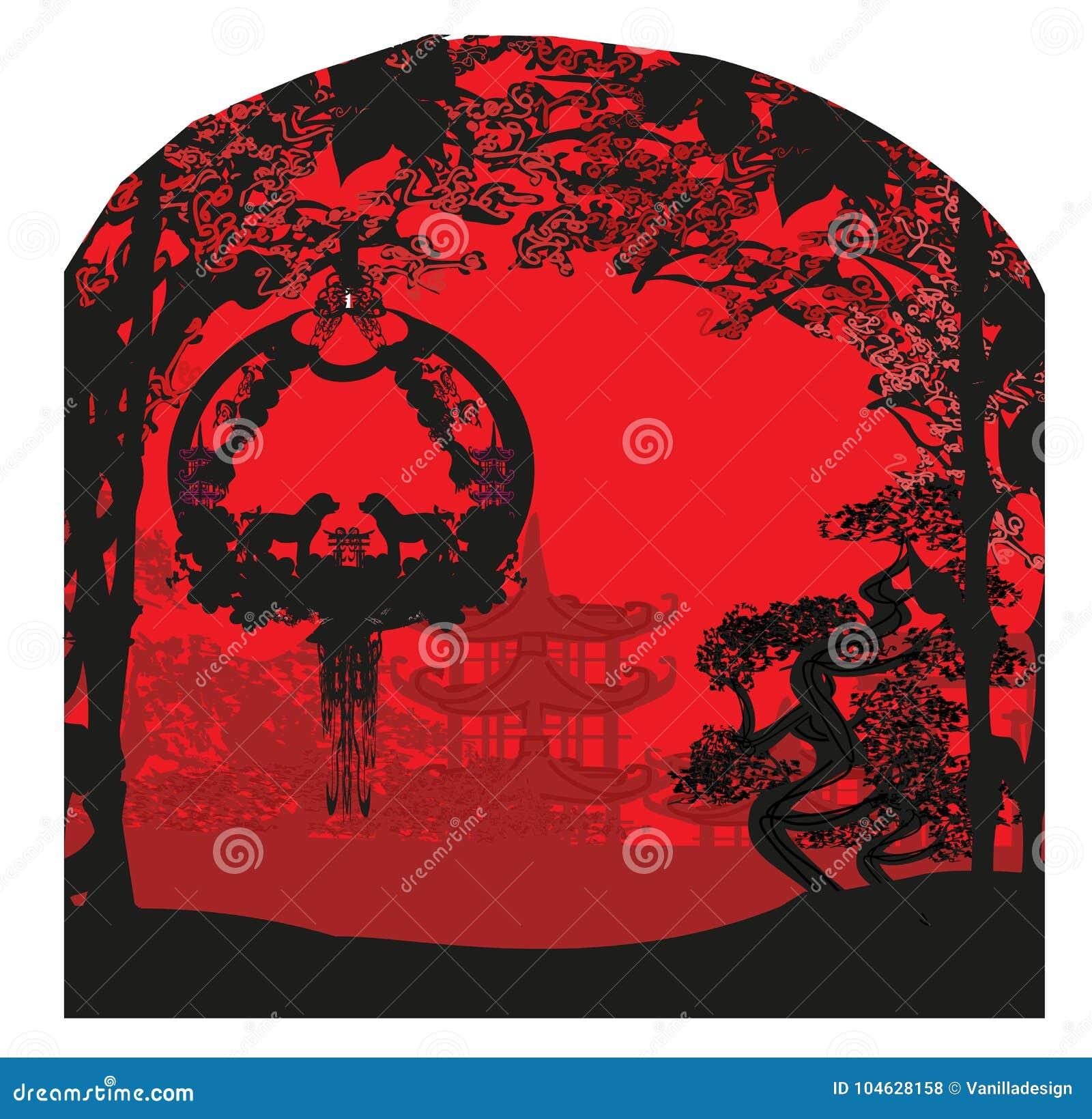 Download Chinese Dierenriem Het Jaar Van Hond Vector Illustratie - Illustratie bestaande uit decoratief, ontwerp: 104628158