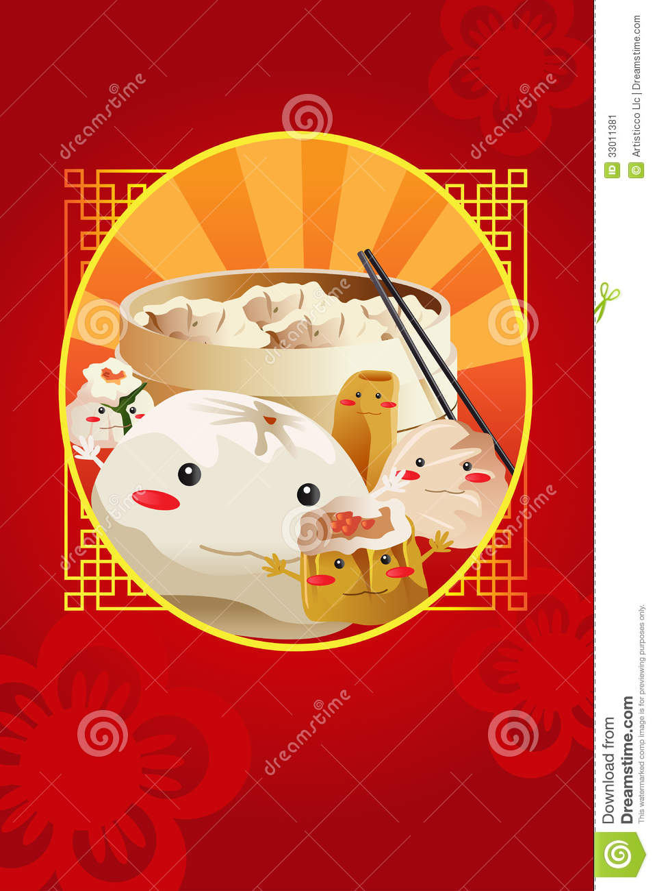 Chinese dim sum used for restaurant menu cover stock