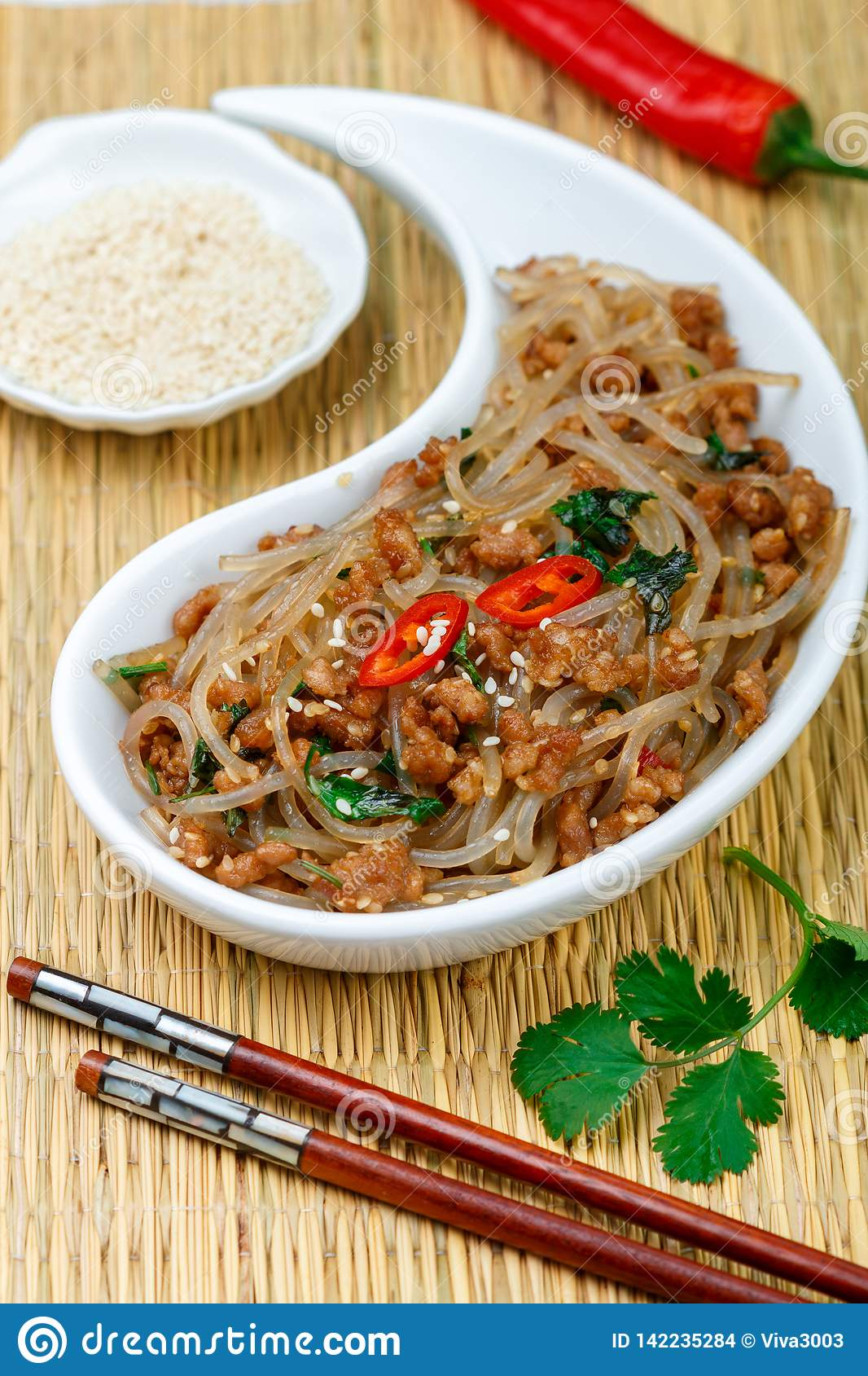 Chinese Dish Of Starch Glass Noodles Rice, Potatoes, Beans