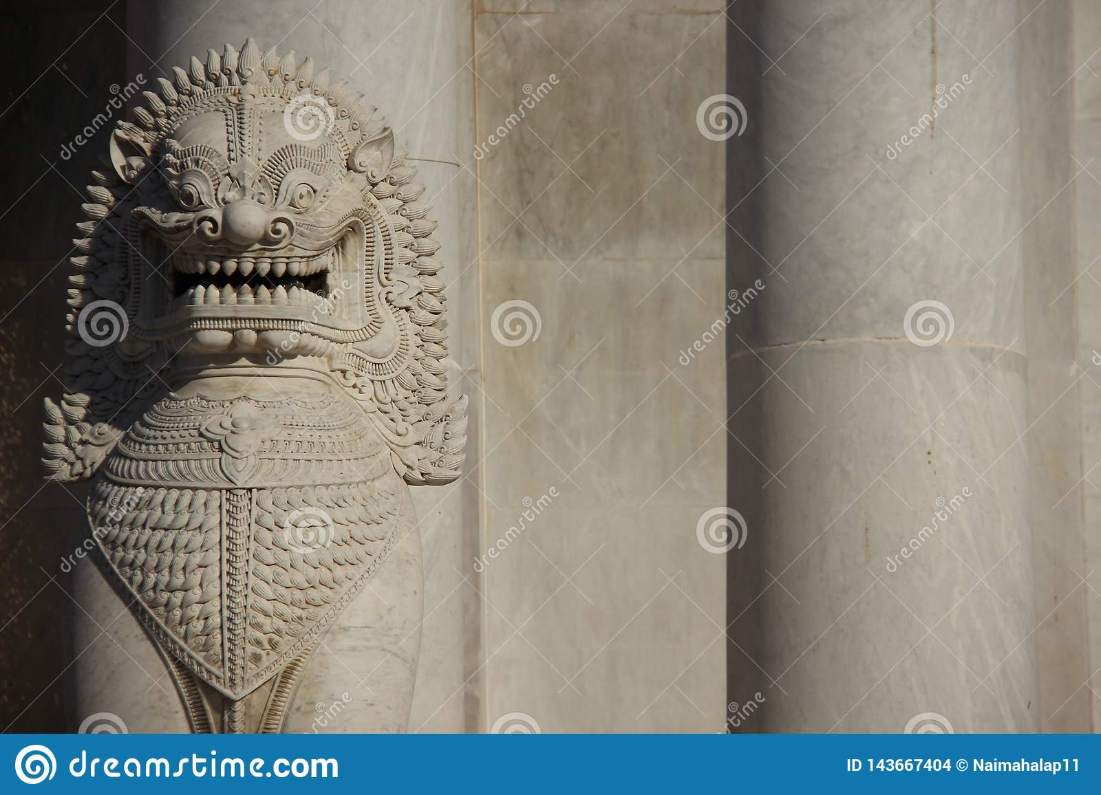 Marble Lion And Marble Pillars