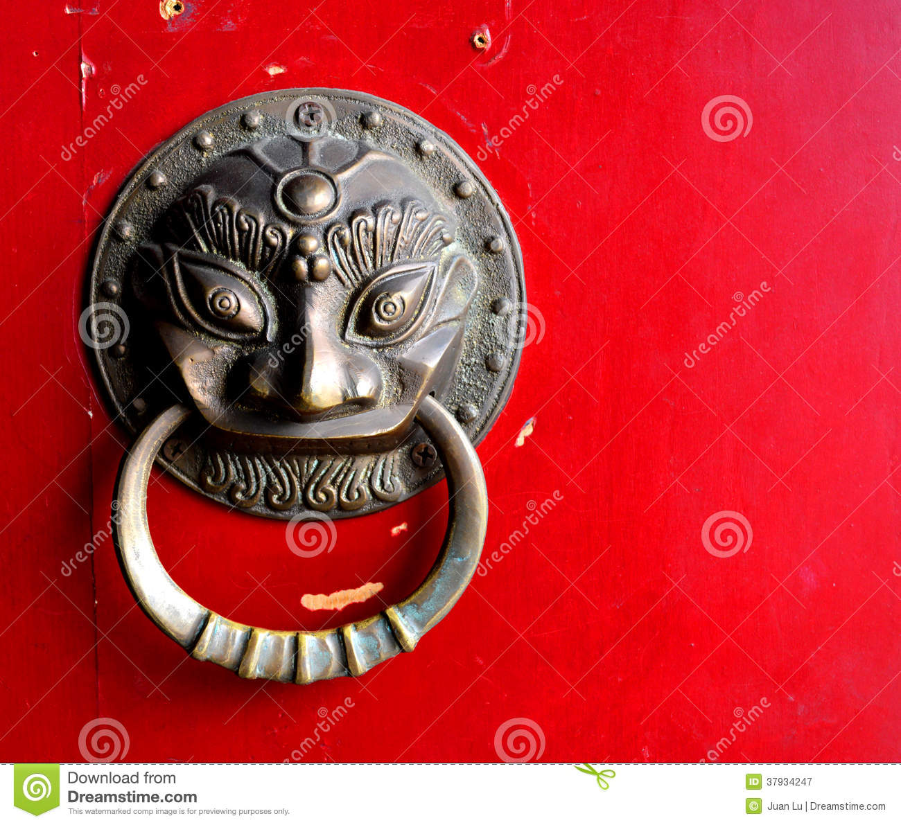 Chinese Door Guardian Handle For Protection Royalty Free