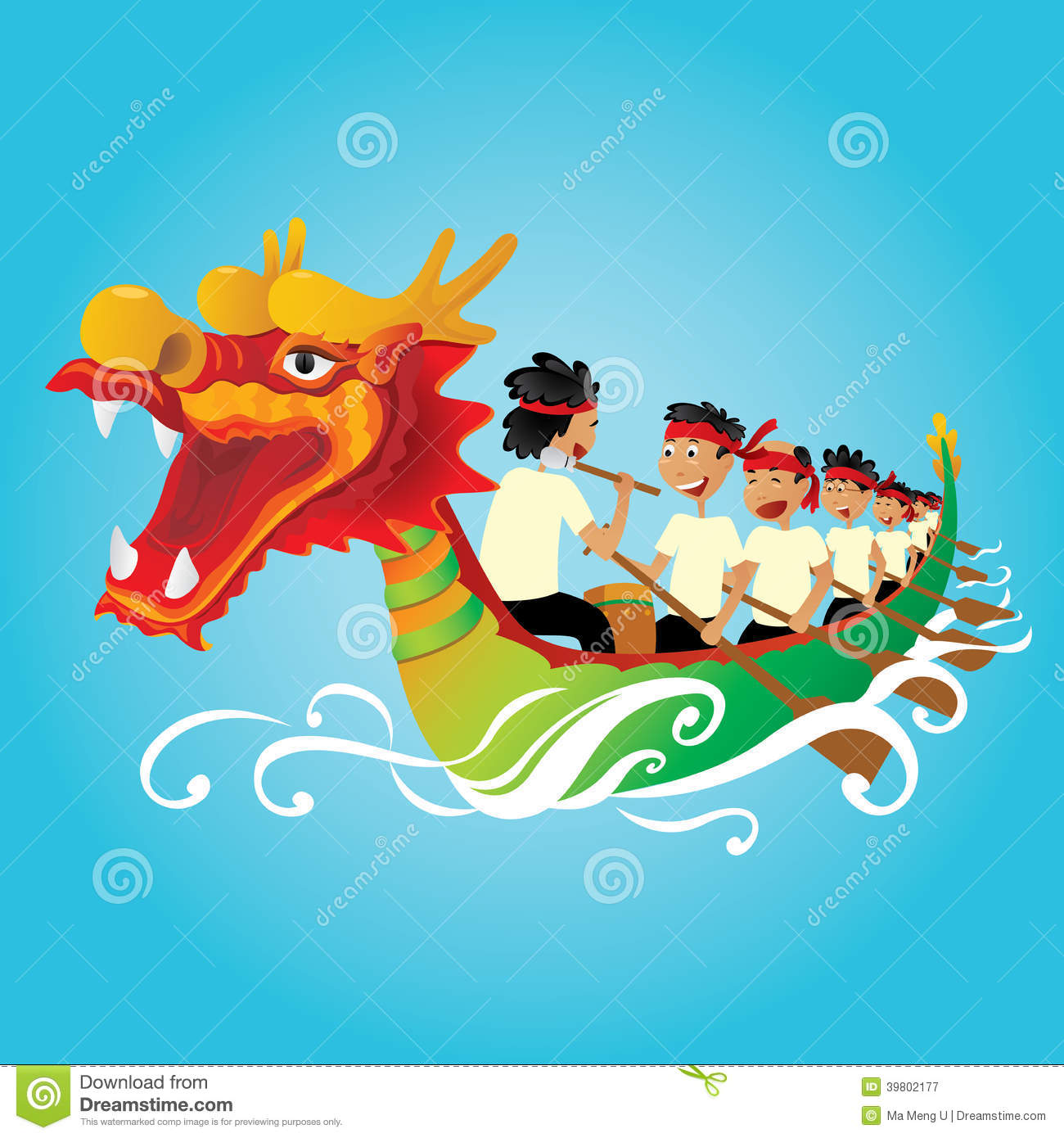 Chinese Dragon Boat Competition Illustration Stock Vector ...
