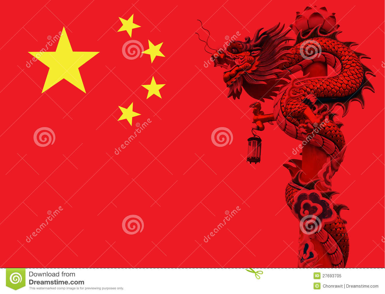 chinese dragon flag  royalty free stock photo