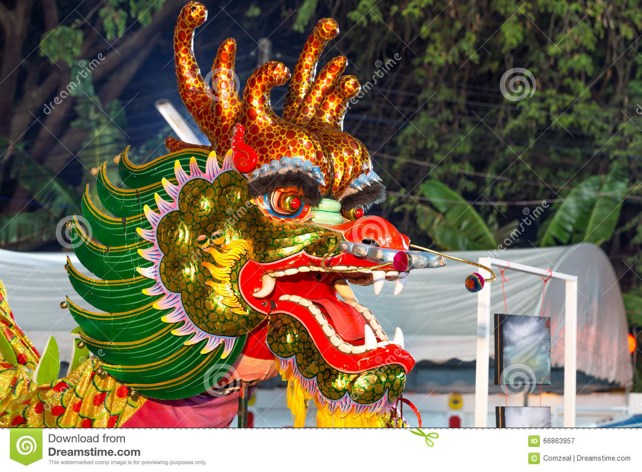 chinese dragon head used in dances for traditional chinese drago