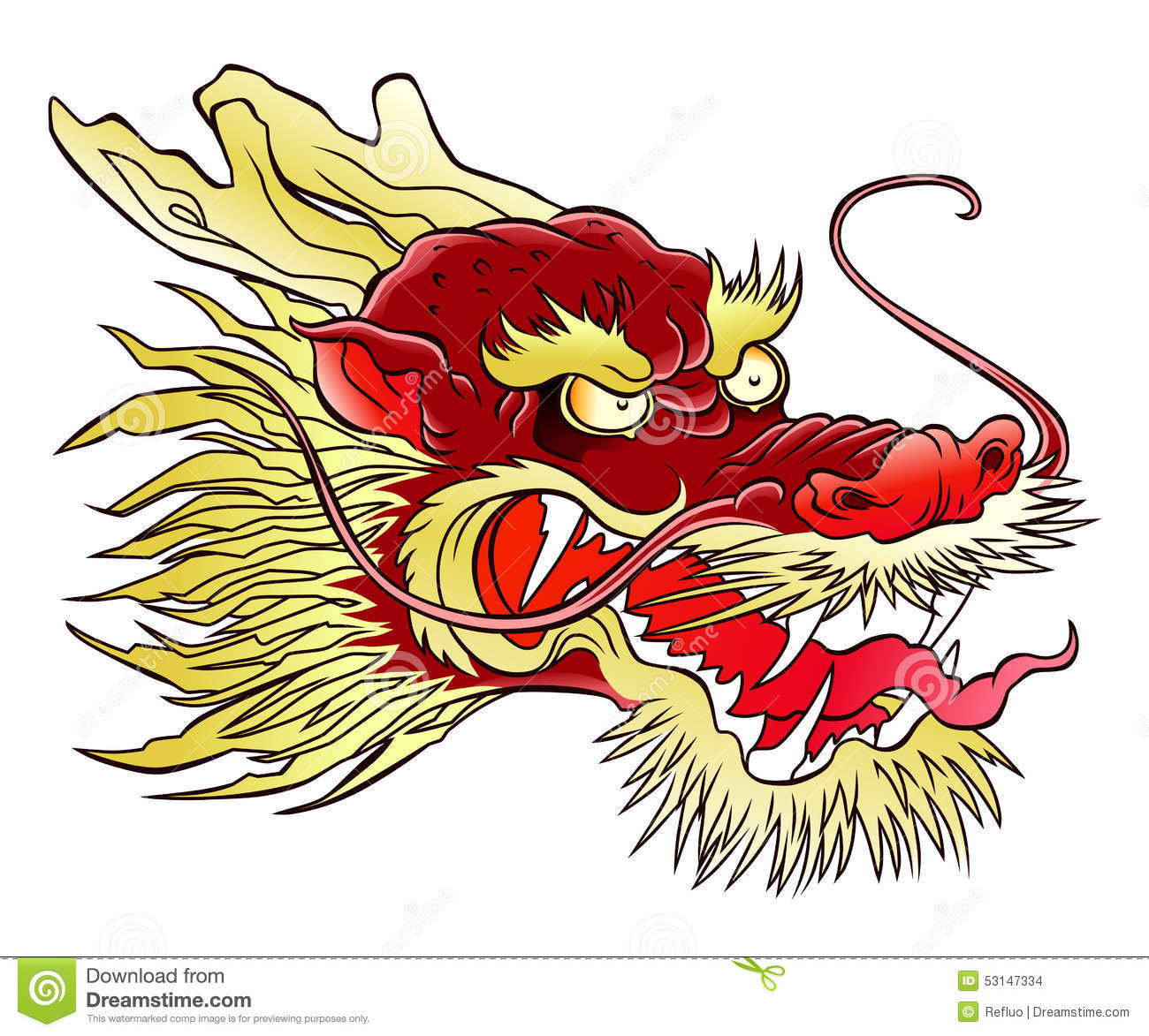 chinese dragon head stock vector image 53147334
