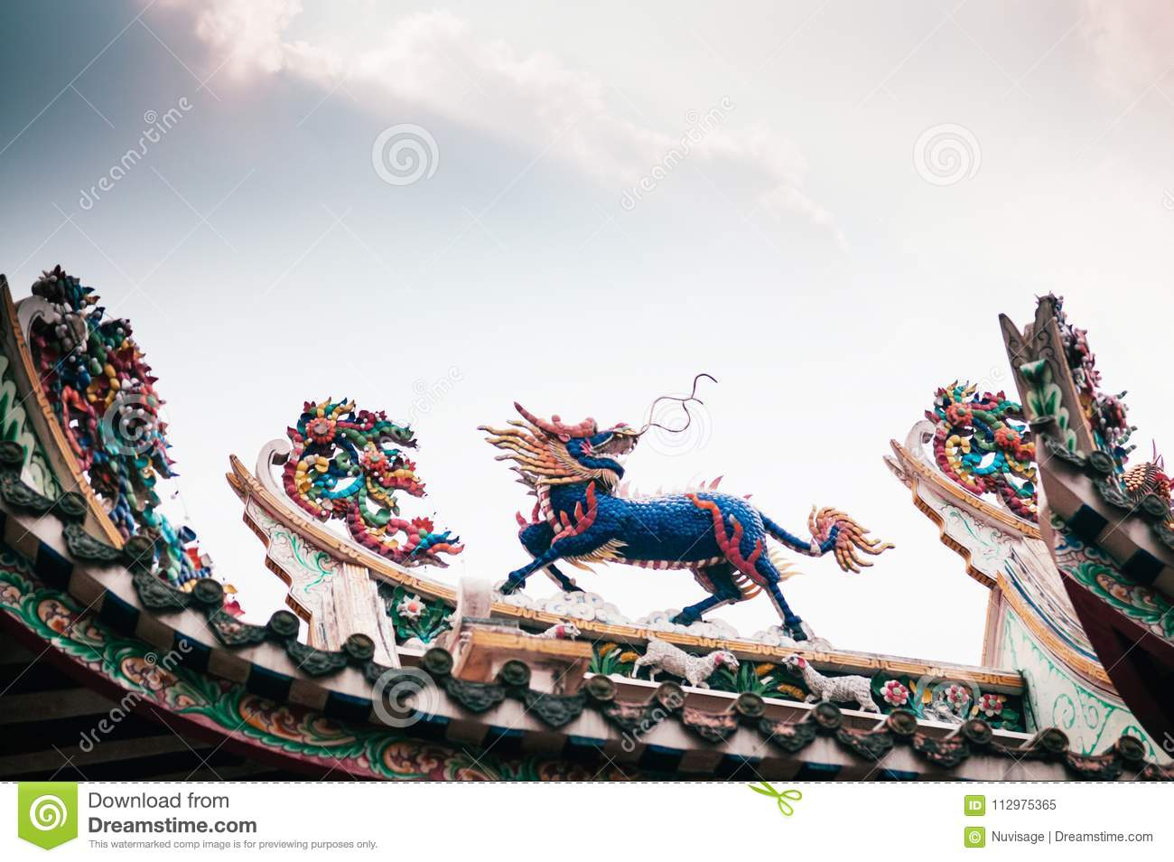 Colorful Kirin statue in chinese temple, oriental sacred heaven