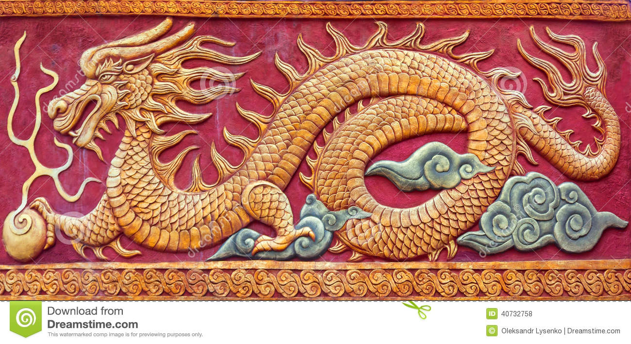 Chinese dragon mural stock photo image of detail power for Chinese mural painting