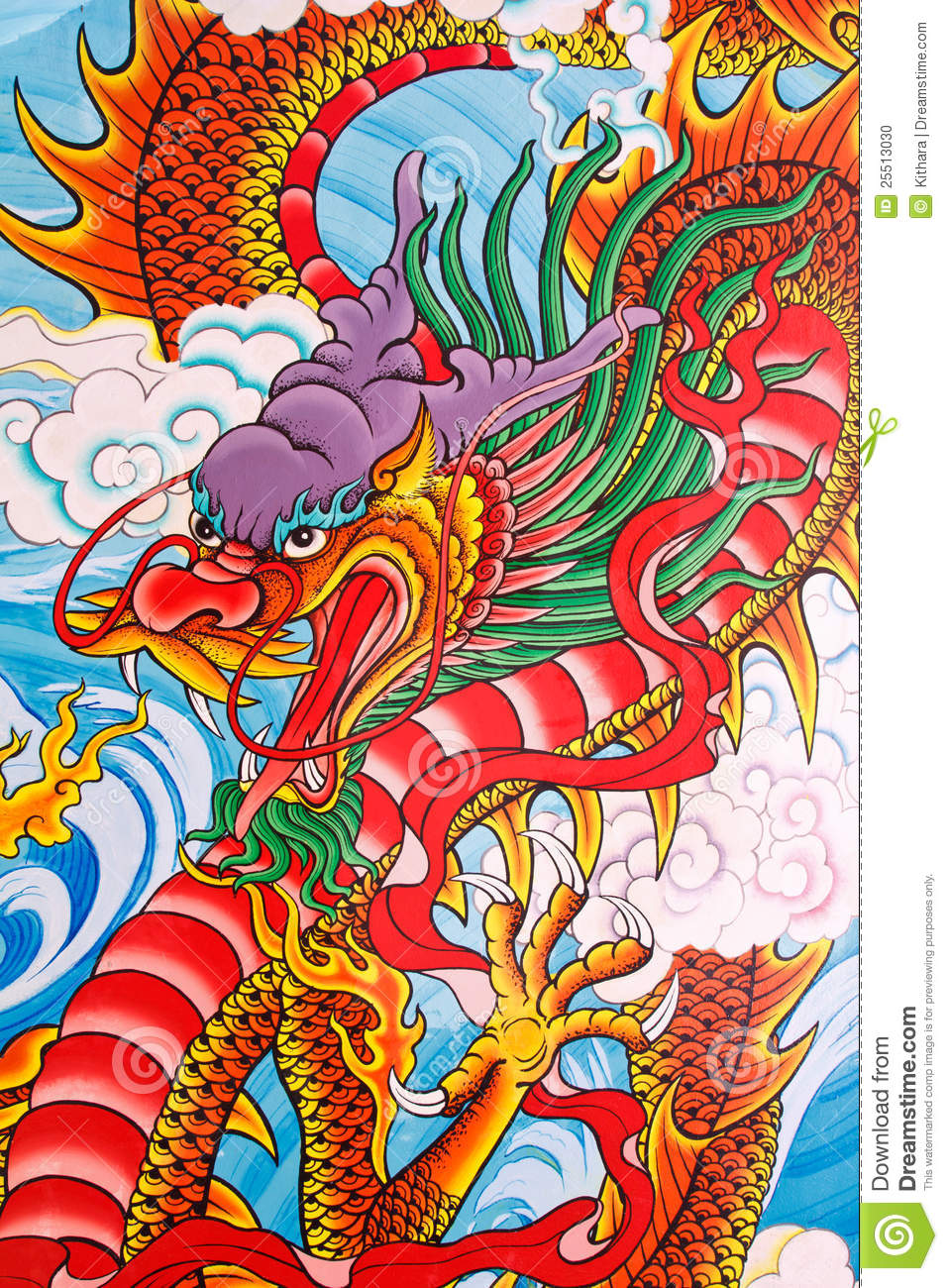 Chinese dragon painting on the wall at Chinese temple, Thailand.