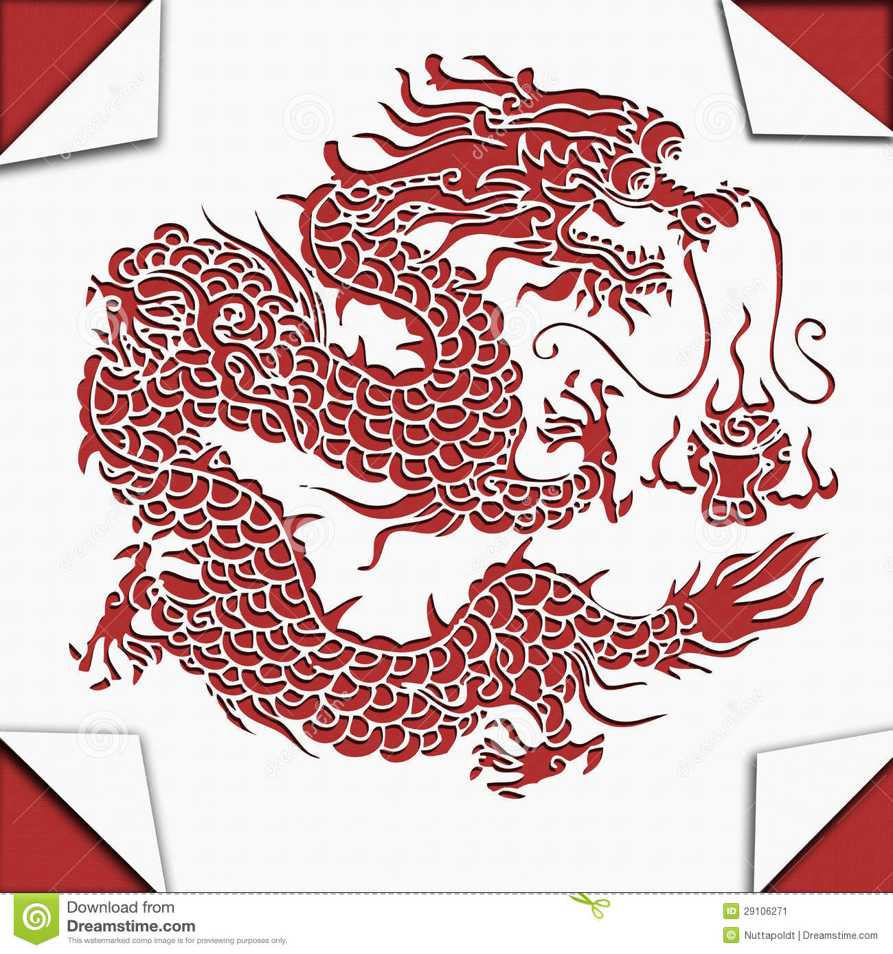 Chinese dragon paper cut art stock illustration image for Chinese paper cutting templates dragon