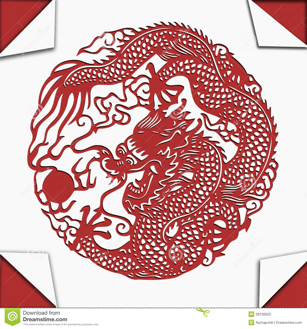Chinese dragon paper cut art stock photos image 29106623 for Chinese paper cutting templates dragon