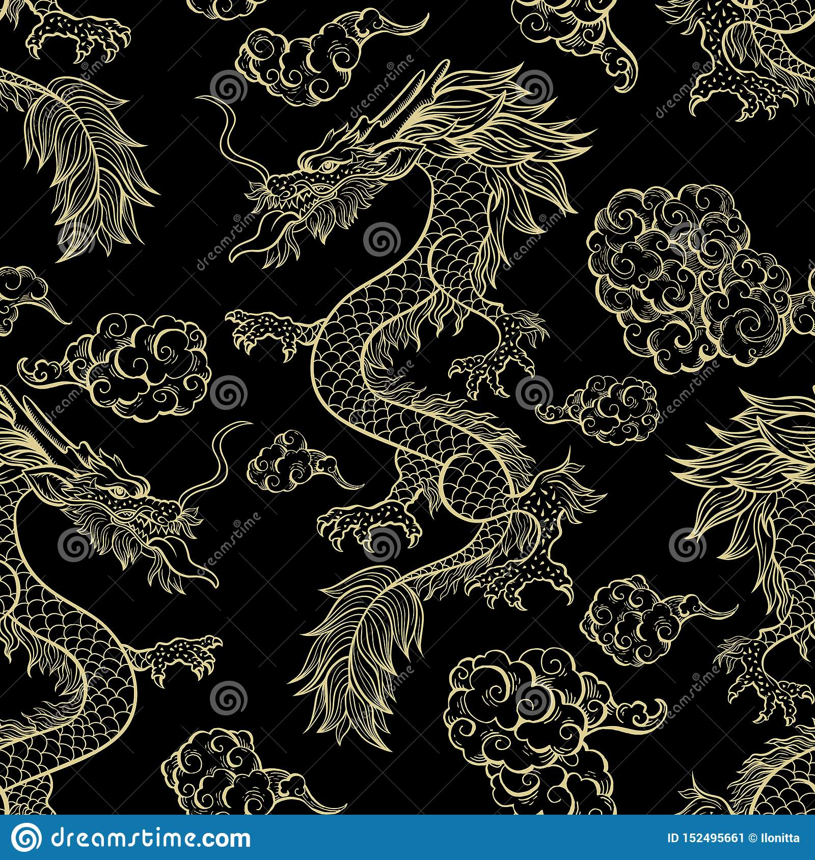 Chinese Dragon On Red Vector Seamless Pattern Stock Vector Illustration Of Asian Flying 152495661