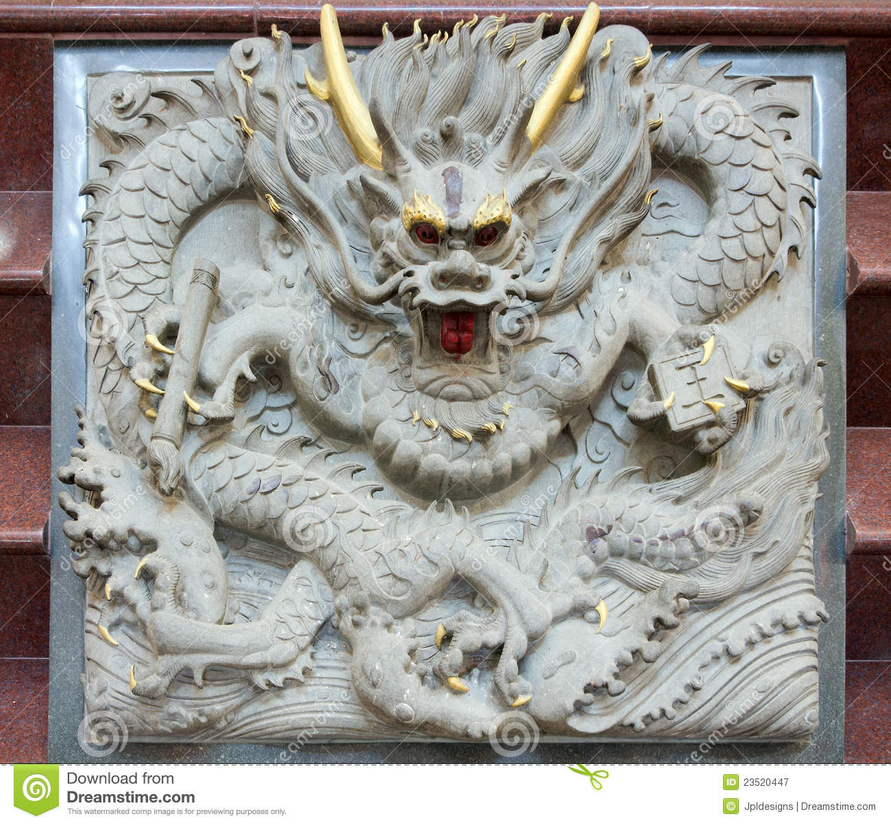 Chinese dragon stone carving stock image