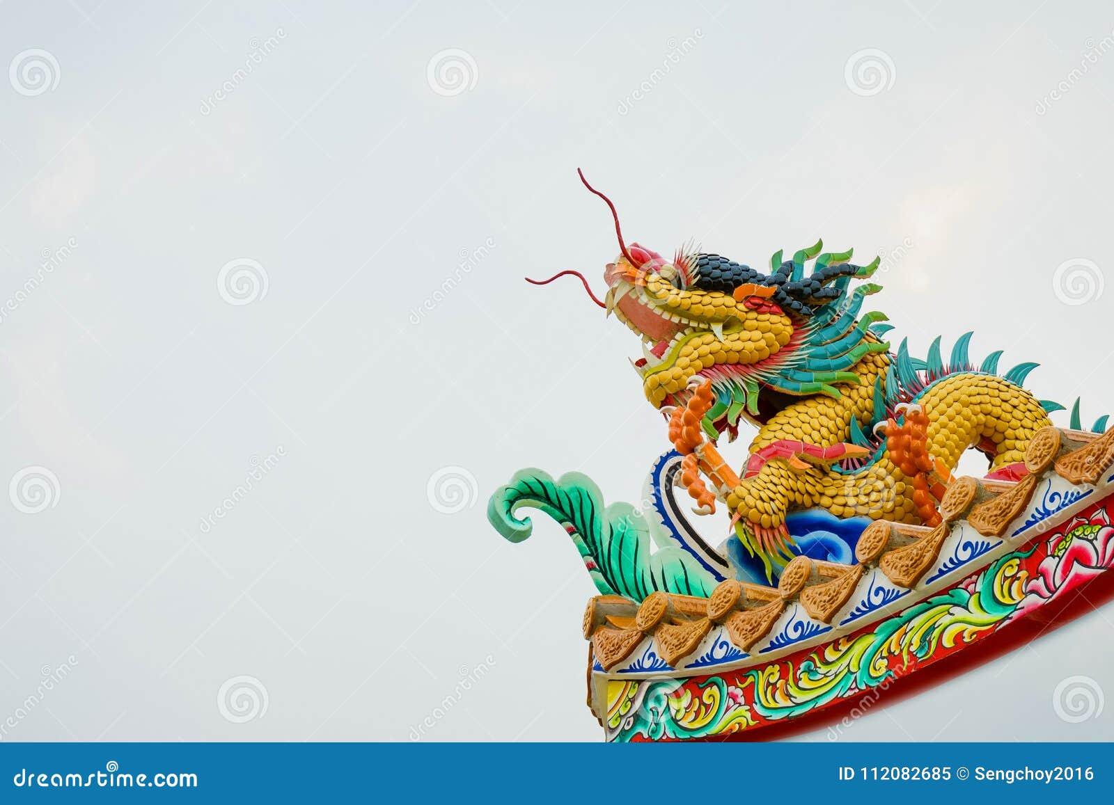 Taoism Symbols Dragon: Colorful Concrete Chinese Dragon Statue Stock Image