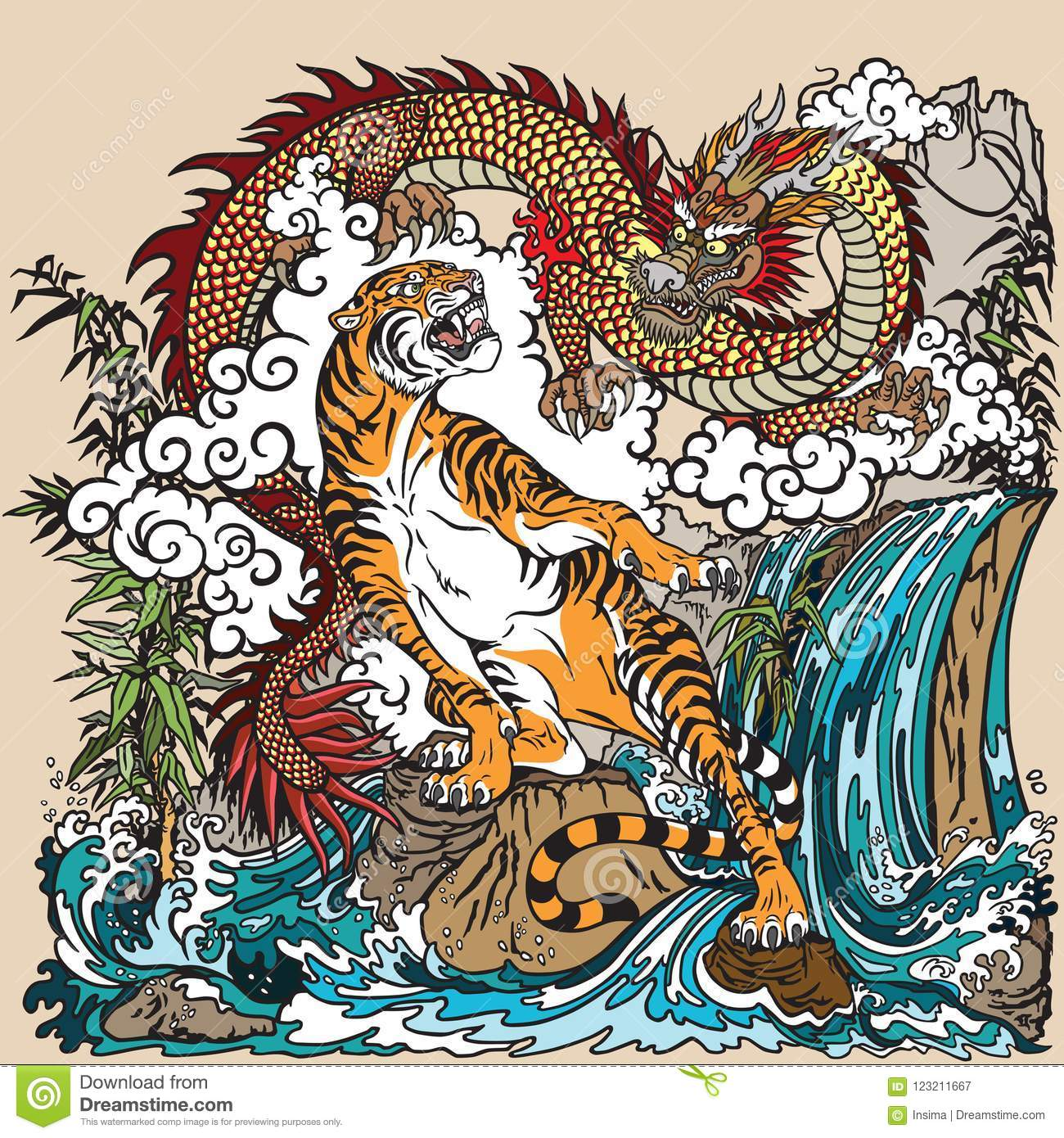 Chinese Dragon Tiger Stock Illustrations - 1,971 Chinese ...